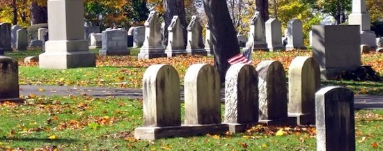 Cemetery on a Crisp October Day with vivid Leaves