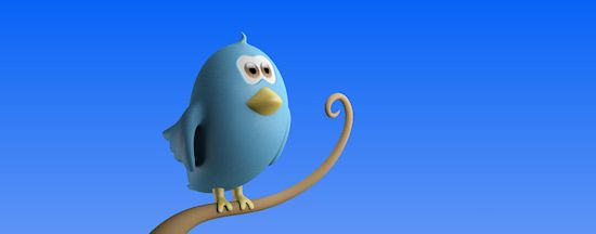 Twitter bird standing on branch